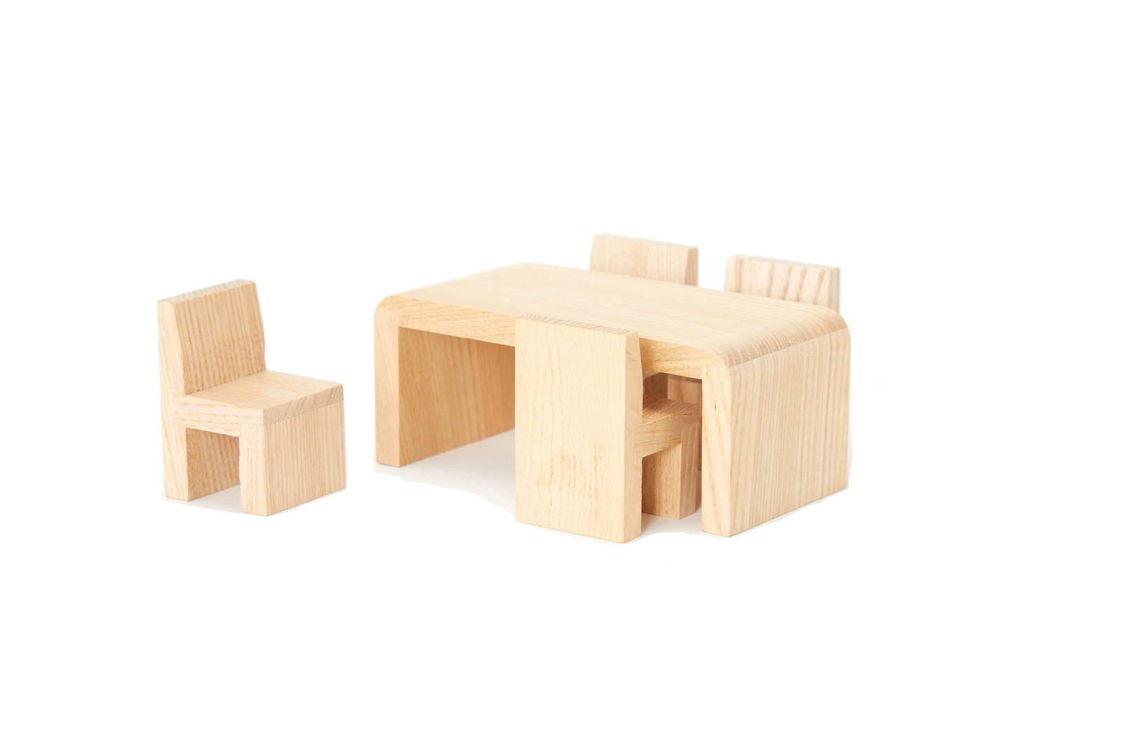 Toy Dining Set: 1 Table + 4 Chairs (All-Natural Wood)