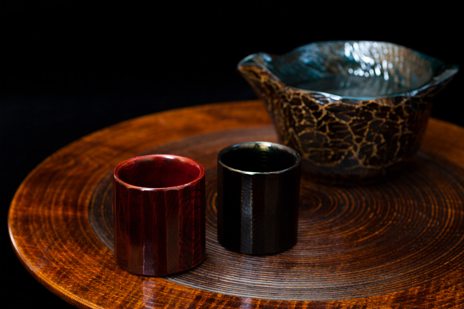 Lacquered Wood Sake Cup Set (2 Cups + 1 Serving Flask)