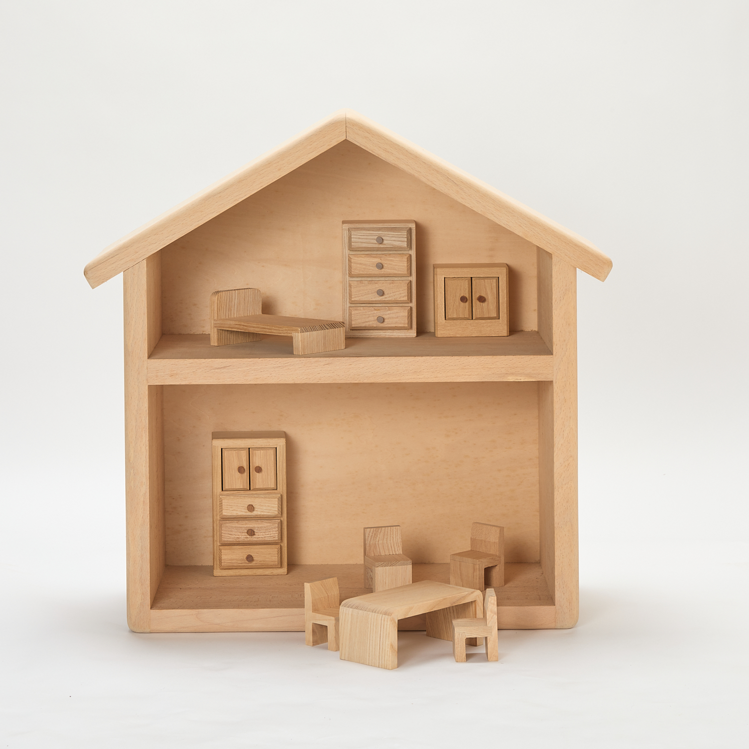Wooden Doll House with Furniture Full Set